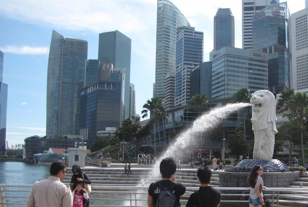 Singapore Merlion with the financial district in the backgound