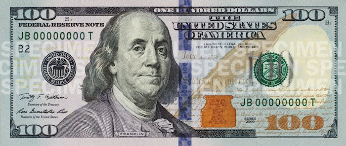 image of the front of the current USA dollar