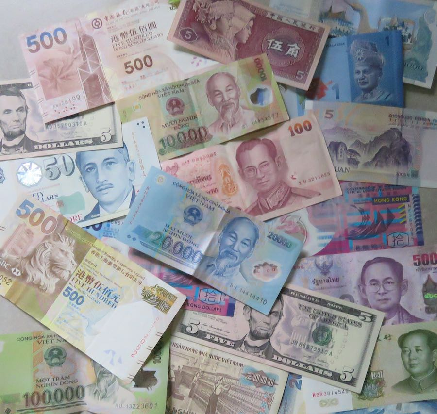 photo of currency: China, Hong Kong, Singapore, Malaysia, Thailand, Cambodia, Vietnam, USA