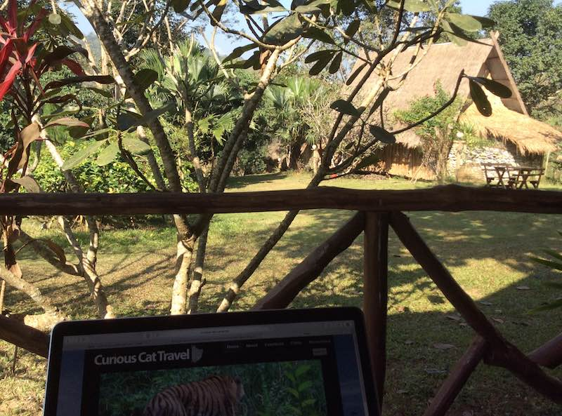 view from my porch (with laptop in forground, plants and another cabin in the photo), Luang Prabang