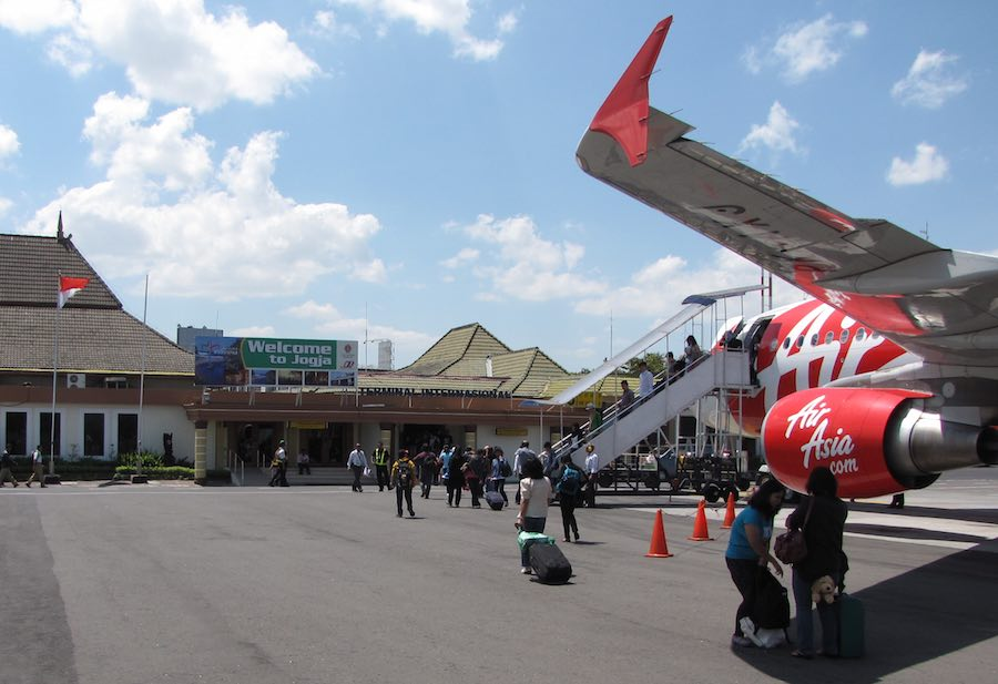 photo of Air Asia airplane at Yogyakarta, Indonesia airport