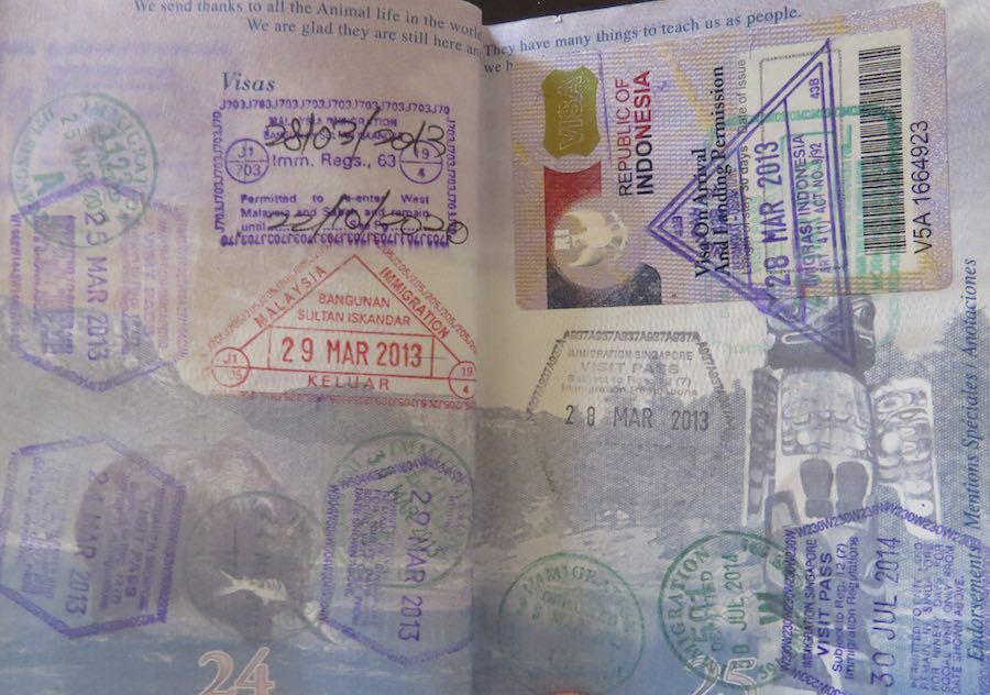 image of passport pages with visa stamps