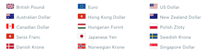 image showing the currencies Transferwise allows